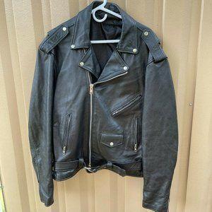 Hot Leathers Mens Black Motorcycle Jacket Size XL
